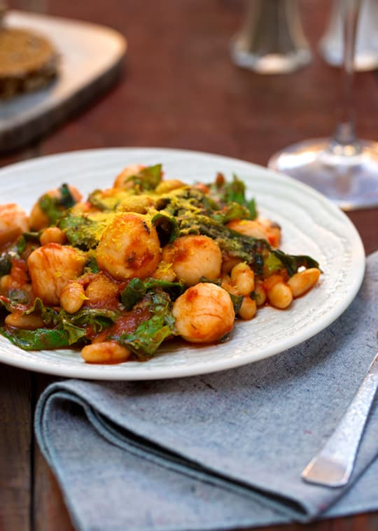Gnocchi with greens and beans
