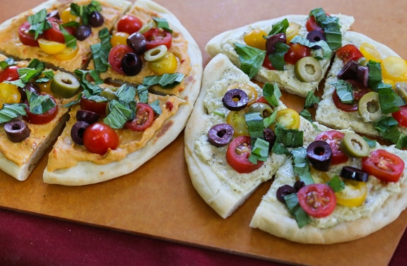 Pesto or hummus flatbreads