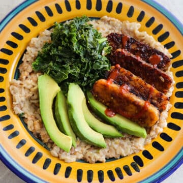 Savory Breakfast bowls with tempeh and greens