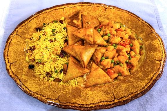 Aloo gobi and pilaf dinner
