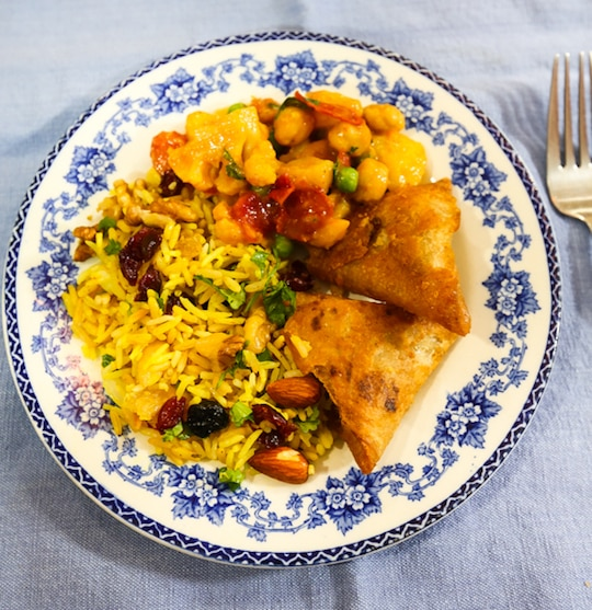Aloo gobi and rice pilaf dinner