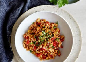Baked Farro with Tomatoes & Herbs