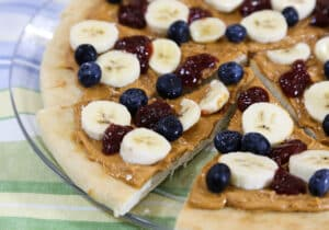 Breakfast Peanut Butter Pizza with Jam and Fruit
