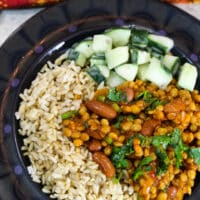 Lentil and Kidney Bean curry dinner