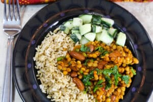 Quick Lentil and Kidney Bean Curry Dinner