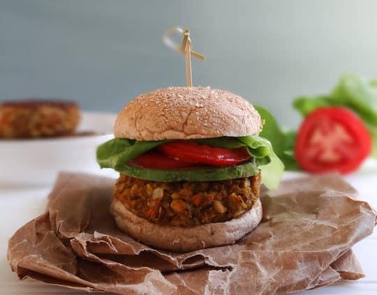 Farro and white bean veggie burger by Sharon Palmer