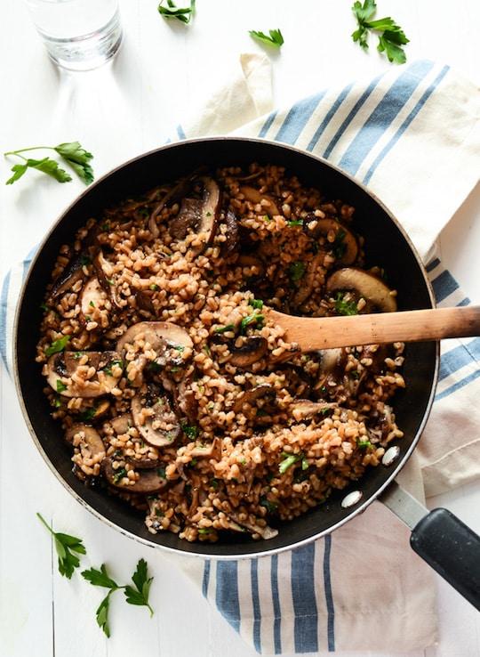 Garlicky Farro with Mushrooms