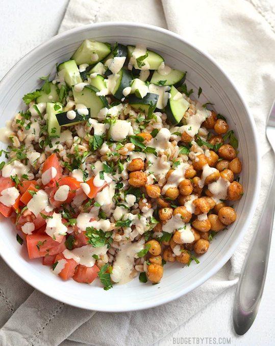 Mediterranean Farro Salad from Budget Bytes