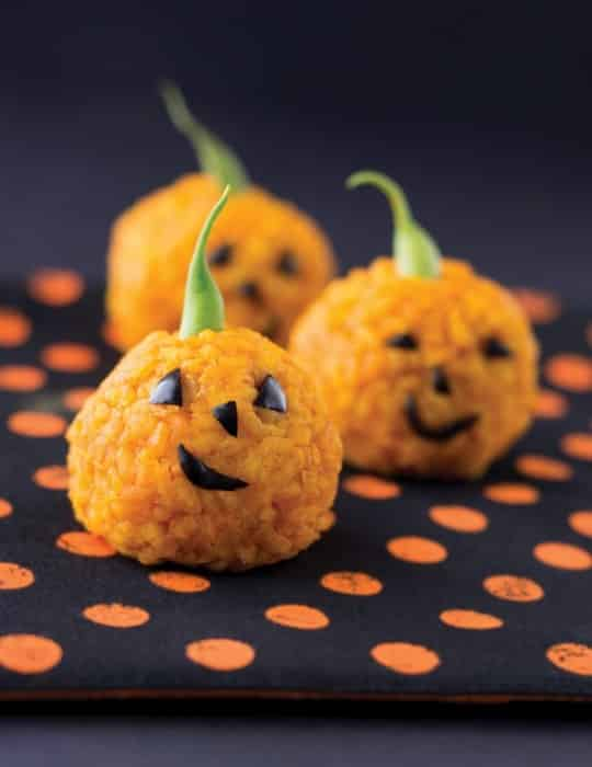 Rice Jack O'Lantern bites by Apron Strings