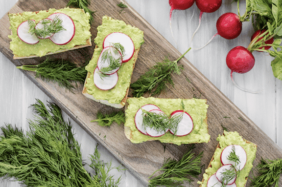 Avocado toast with radishes and dill