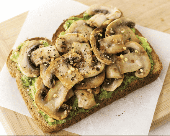 Garlic Mushroom Avocado Toast from The Wholesome Fork