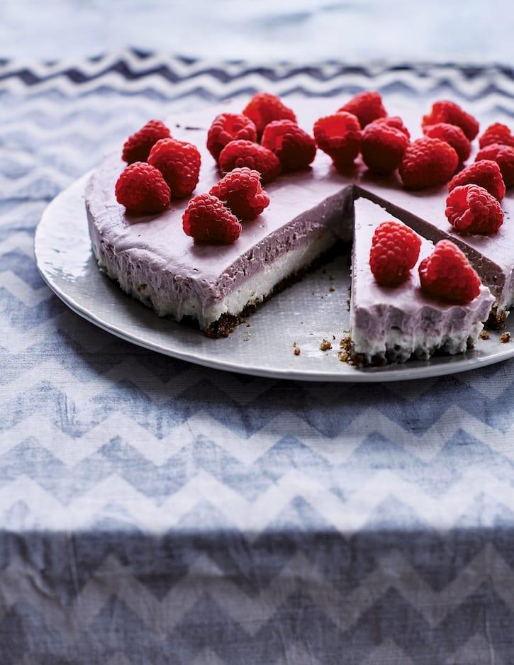 Vegan Vanilla Raspberry Cheesecake