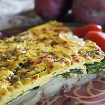 Vegan Potato and Spinach Frittata by Laura Theoodore