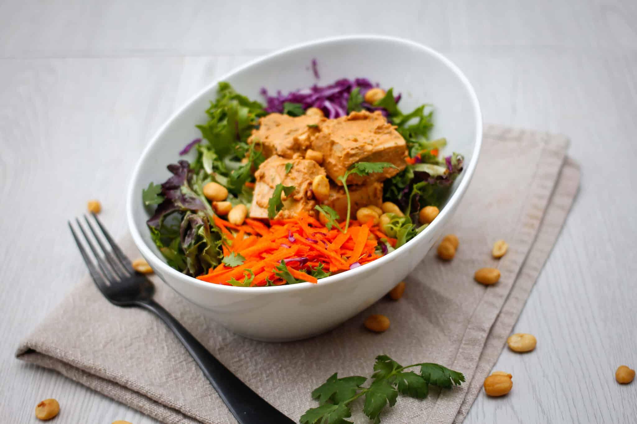 bowl of asian tofu salad with Thai peanut dressing
