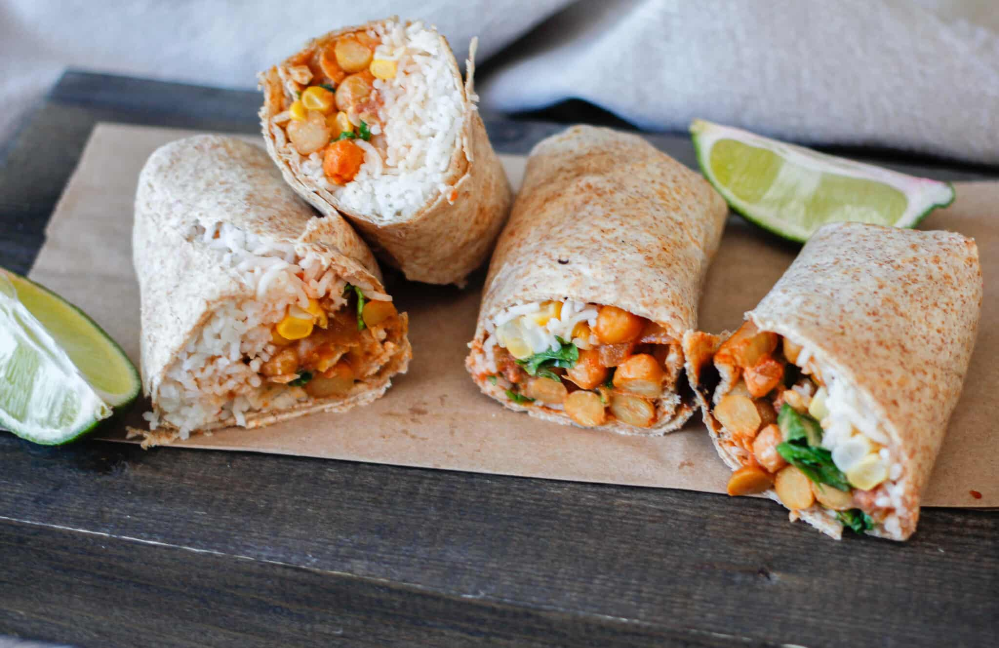 chickpea wraps cut in half on a table