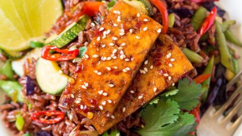 Red rice stir fry with spicy tofu an announcement small