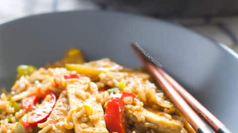 Tofu stir fry with rice and veggies 3