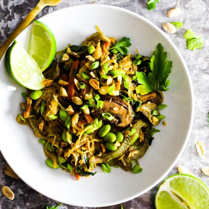 spaghetti squash peanut stir fry vegetable dinner healthy easy asian recipe grain free dairy free square