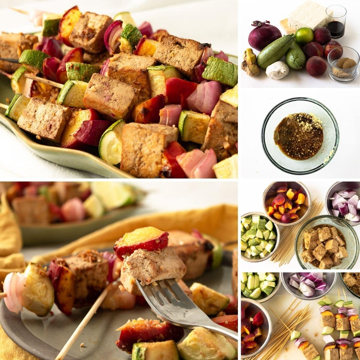 how to make grilled tofu skewers collage