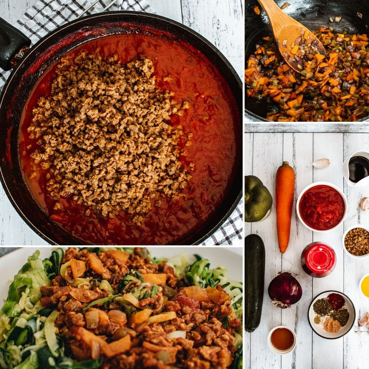 how to make Vegan Bolognese sauce collage