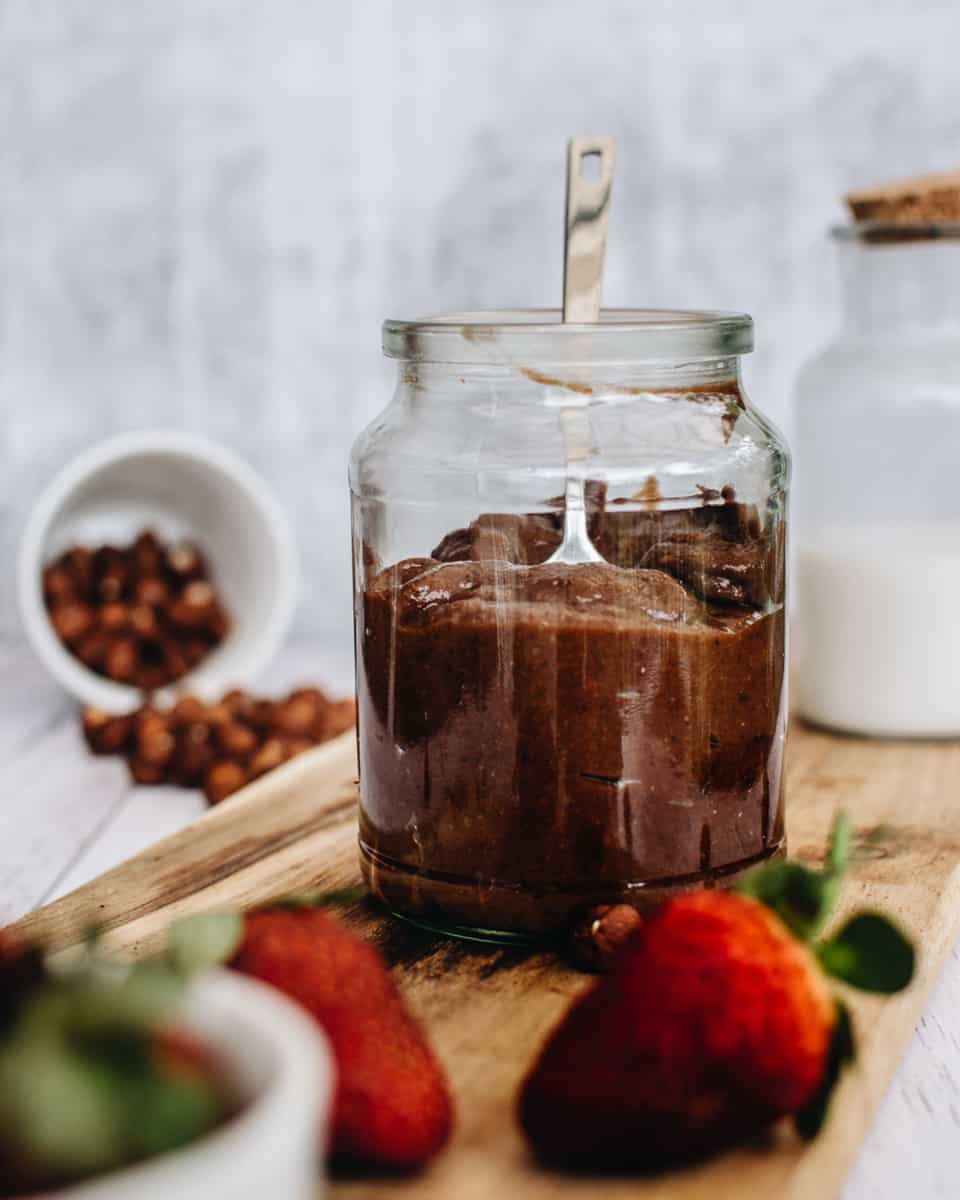 jar of homemade vegan nutella