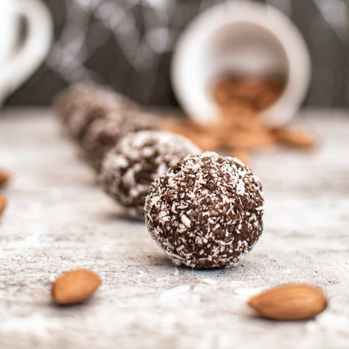 eye-level view of row of almond butter protein balls