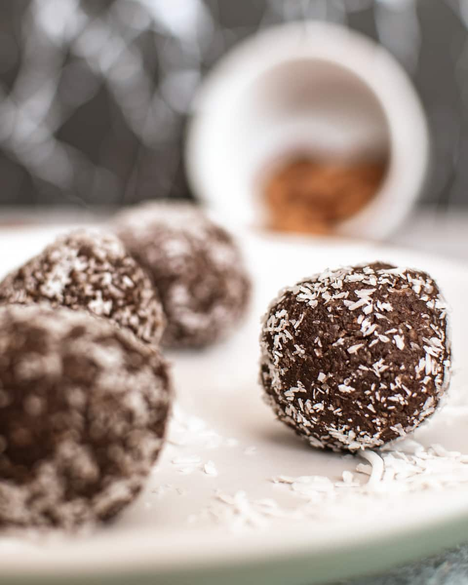 close up of almond butter protein ball