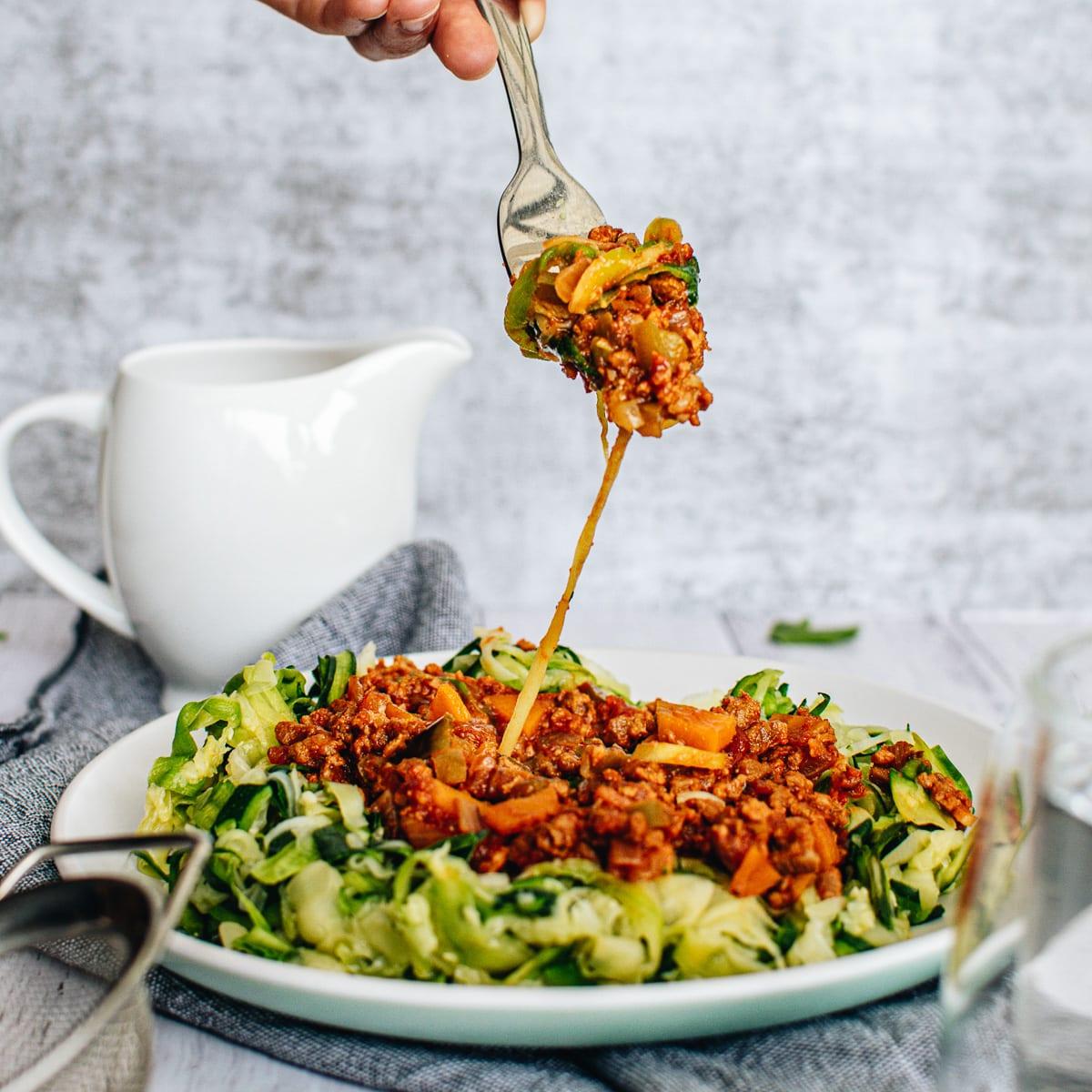 Vegan Zucchini Noodles with Vegan Bolognese