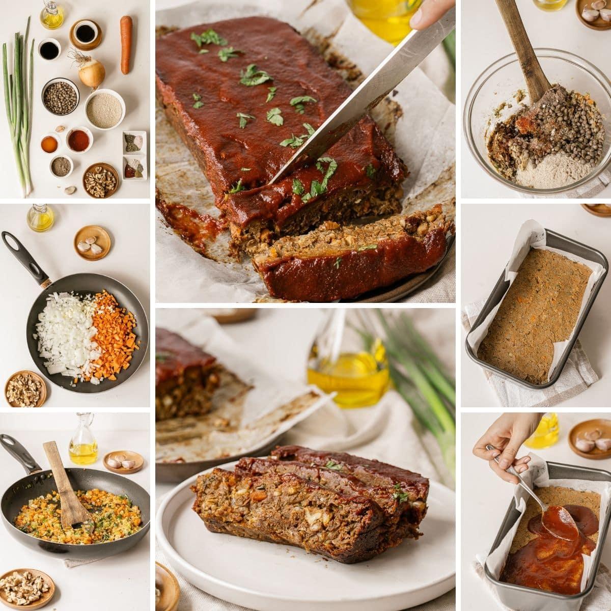 cómo hacer un collage vegano de pastel de carne con lentejas