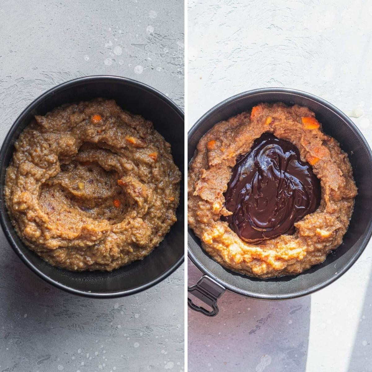 montar el budín de pan en la sartén