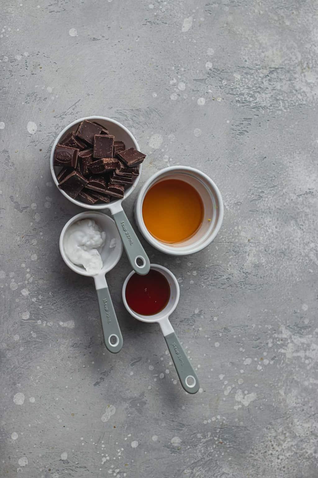 ingredientes para el centro de chocolate fundido