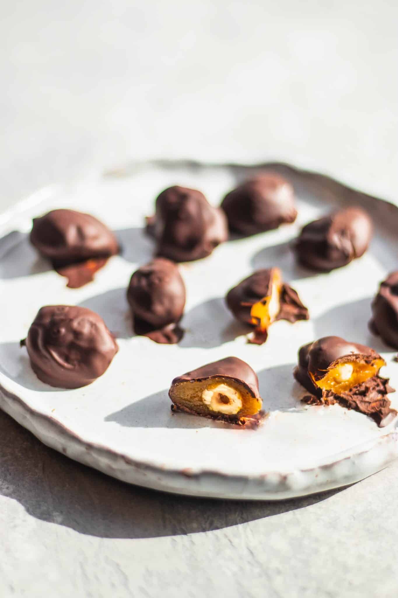 homemade chocolates on a white serving tray