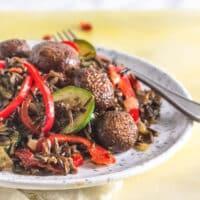 vegan wild rice with mushrooms