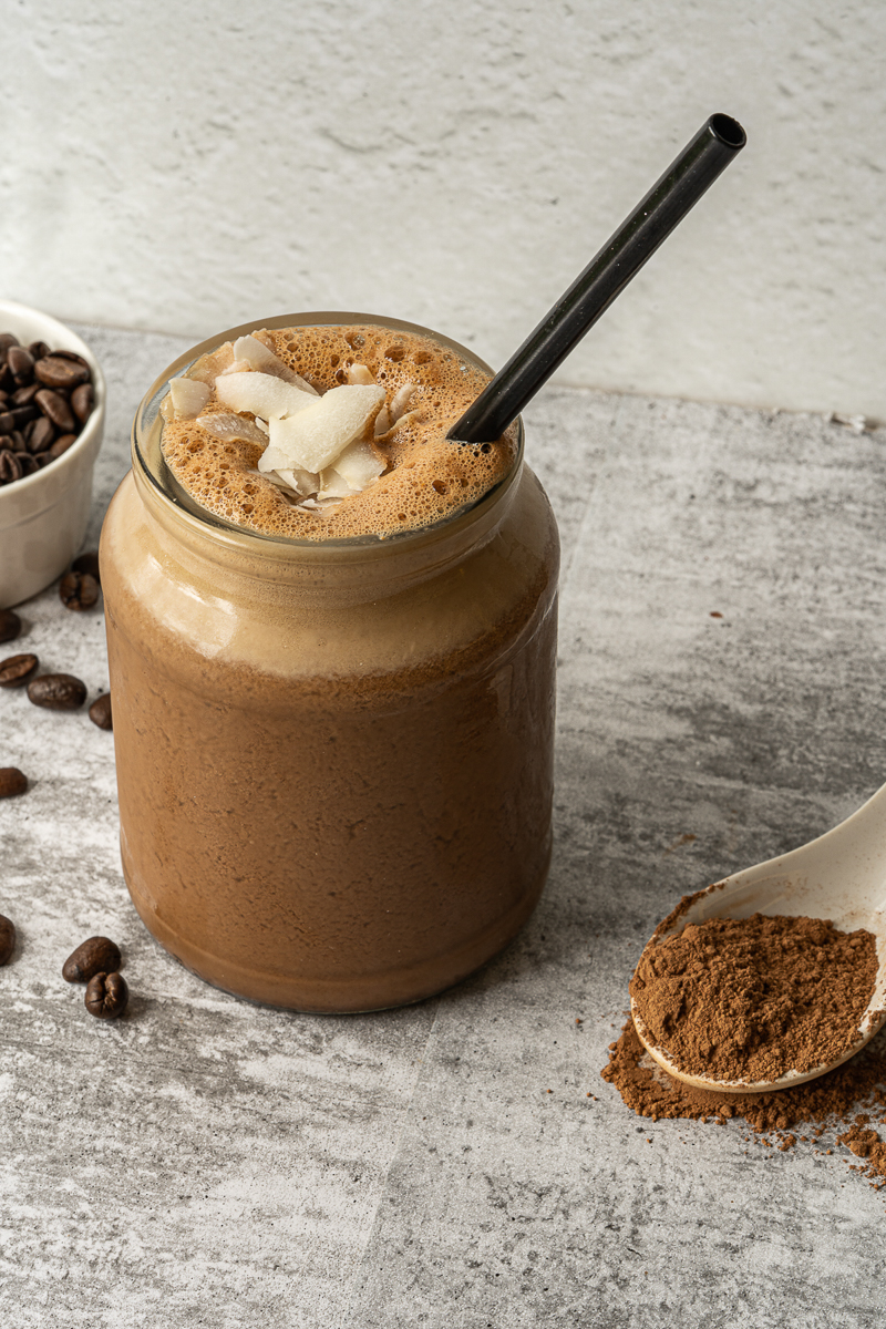 vegan chocolate shake side view