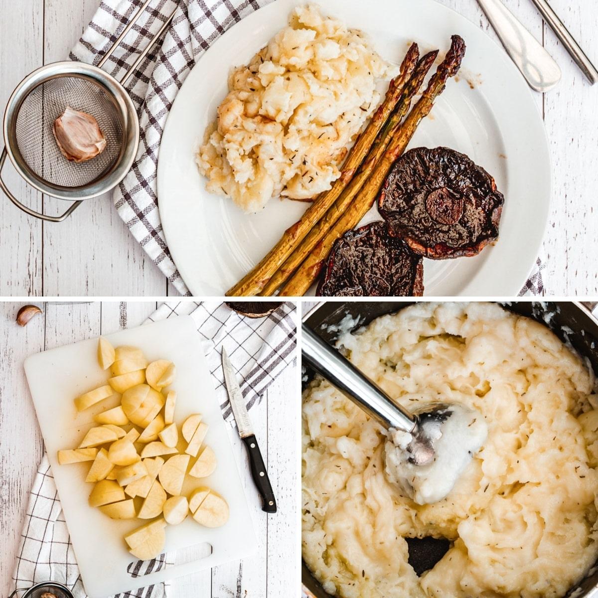 how to make vegan mashed potatoes collage