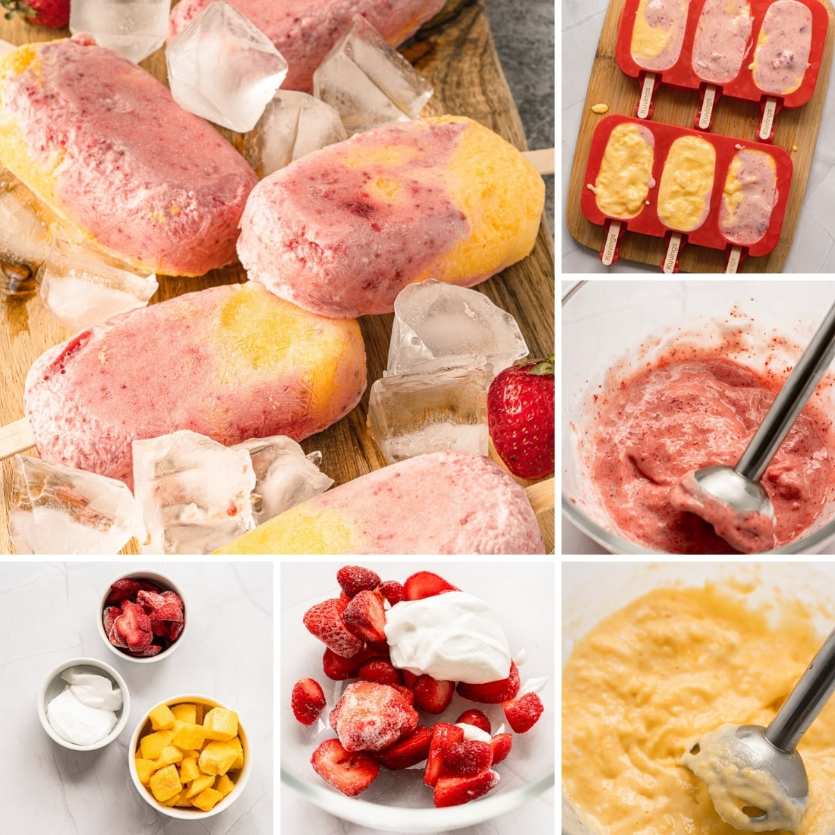 how to make vegan strawberry mango popsicles collage