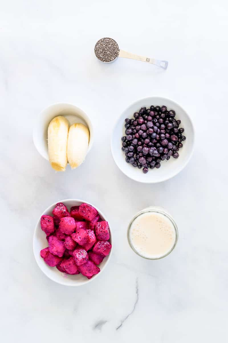 ingredients for dragon fruit smoothie