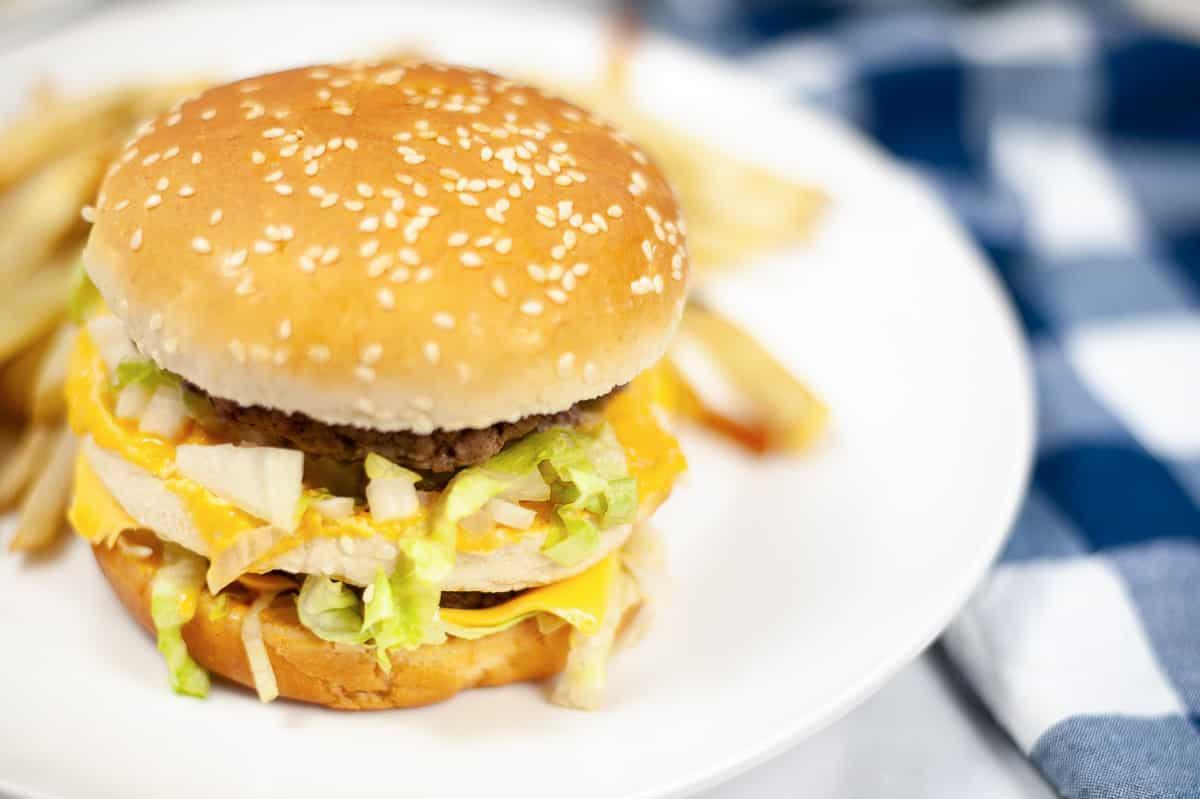 burger with vegan Big Mac sauce on a plate