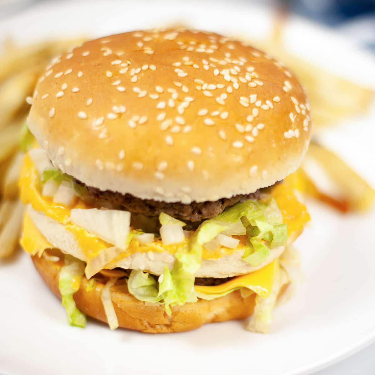 burger with vegan Big Mac sauce
