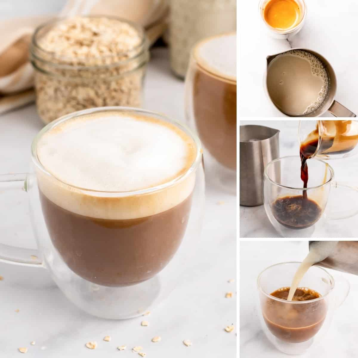 how to make oat milk latte collage