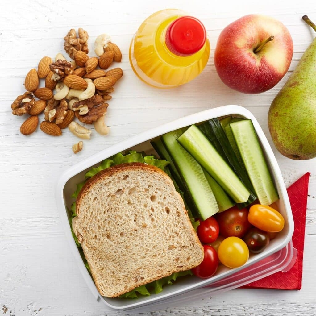 color lunch box of food